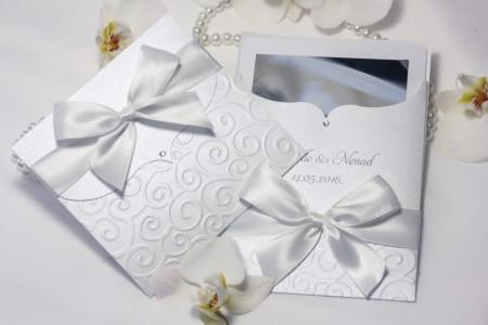 bijele pozivnice i zahvalnice komplet (3)
